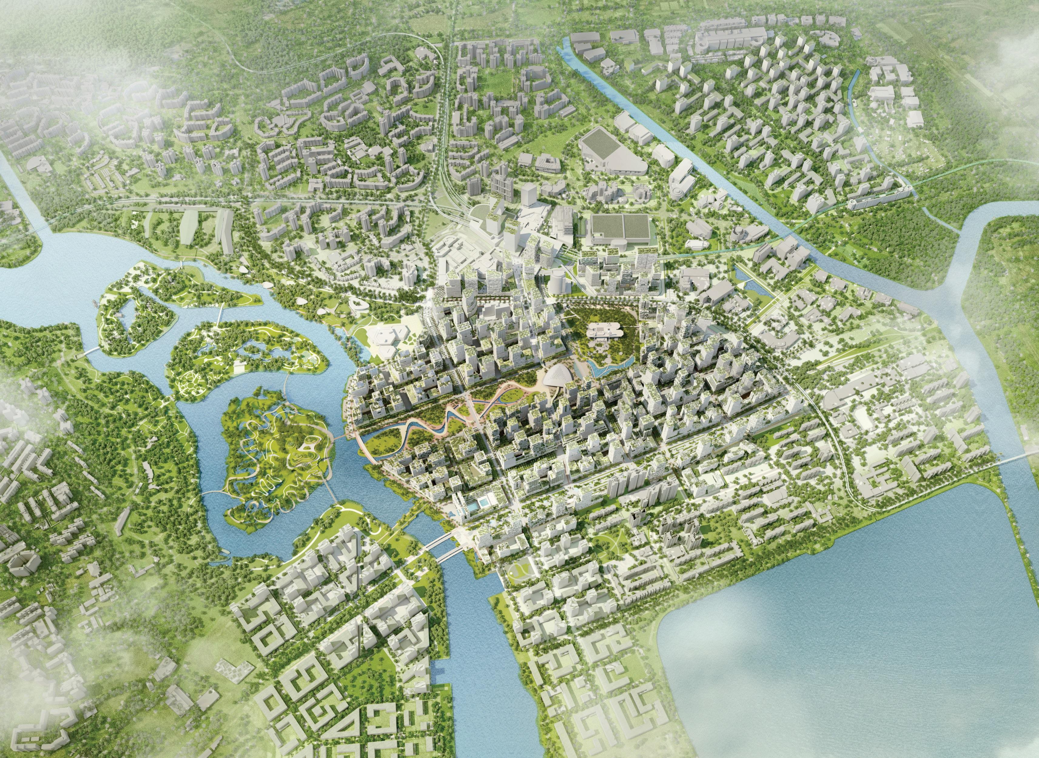 Jurong lake district master plan construction plus asia for Lake plan