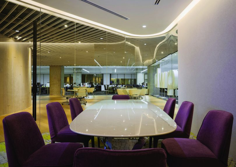 One of the colorful meeting rooms