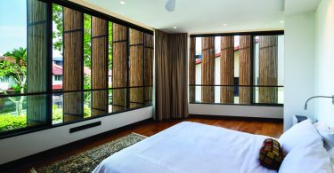The double skin consisting of bamboo veil and glass windows