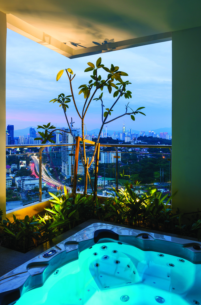 Jacuzzi facilities distributed across floors and towers