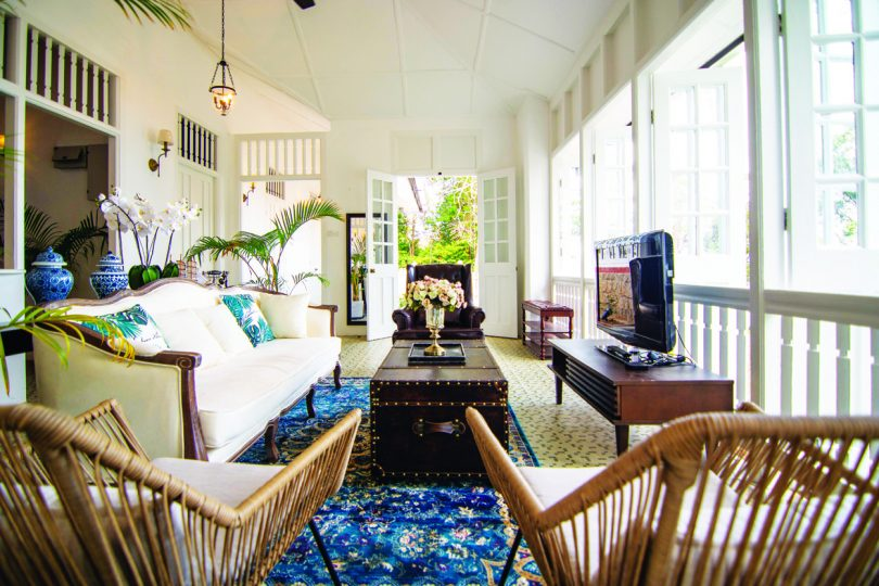 Vintage furniture to match the building's colonial style