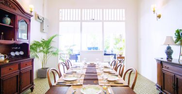 Wooden furniture at the dining area